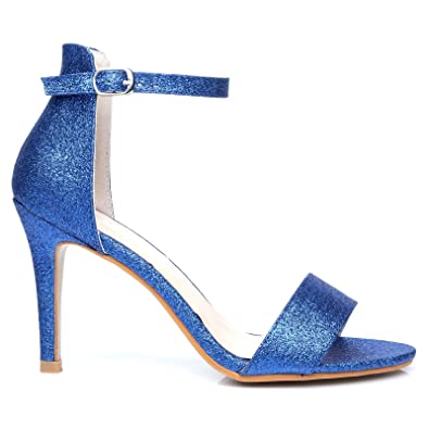 1e2cc6a5972 PAM Blue Glitter Ankle Strap Barely There High Heel Sandals: Amazon ...