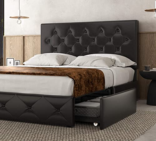 Amolife Faux Leather Upholstered Queen Bed Frame