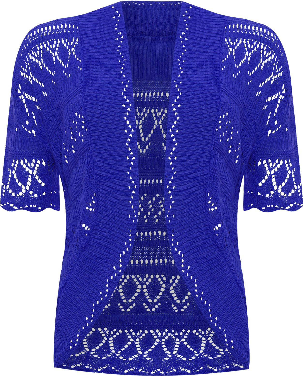 WearAll Women's Plus Size Crochet Knitted Short Sleeve Cardigan - Royal Blue - US 14-16 (UK 18-20)