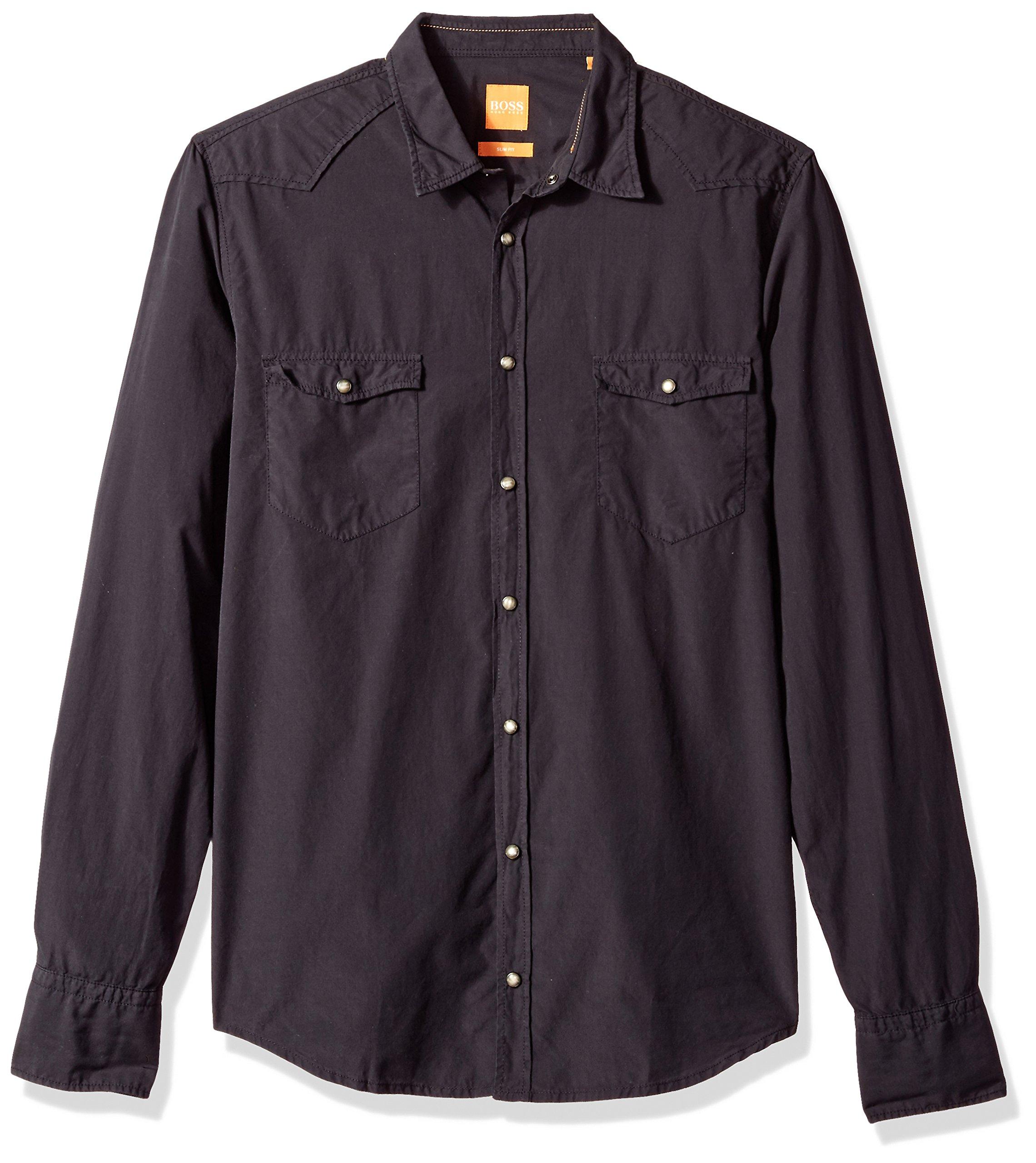 BOSS Orange Men's Erodeo Long Sleeve Shirt, Black, XL