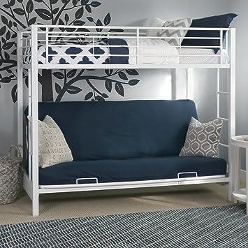 Amazon Com Sturdy Metal Twin Over Futon Bunk Bed In White Finish