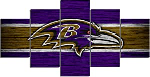 Baltimore Ravens NFL Foolball Art Canvas Posters Home Decor Wall Art Framework 5 Pieces Paintings for Living Room HD Prints Sports Pictures B (S,No Framed)