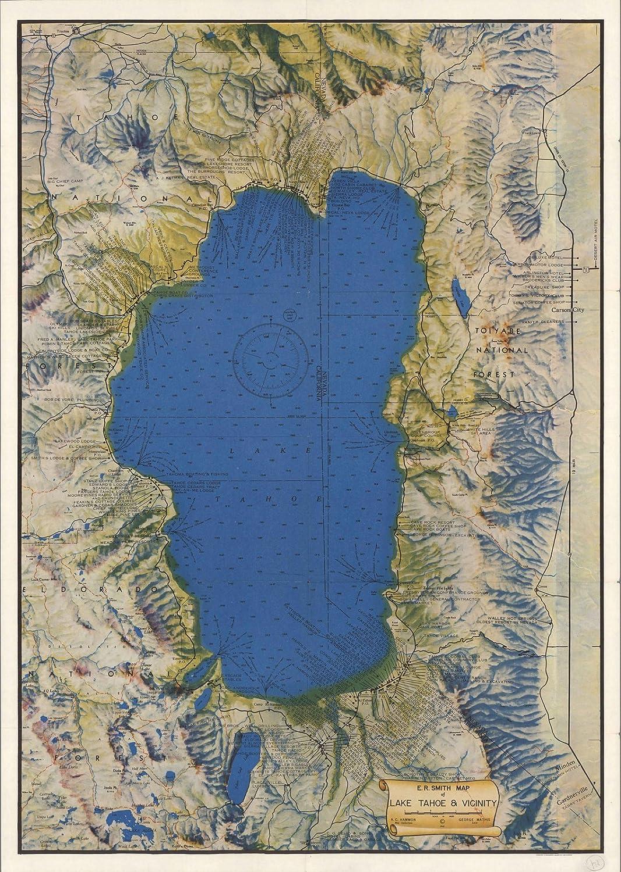 e.r.スミスマップのLake Tahoe & Vicinity、1947   Historicアンティークヴィンテージマップ再印刷 24in x 17in 552971_2417