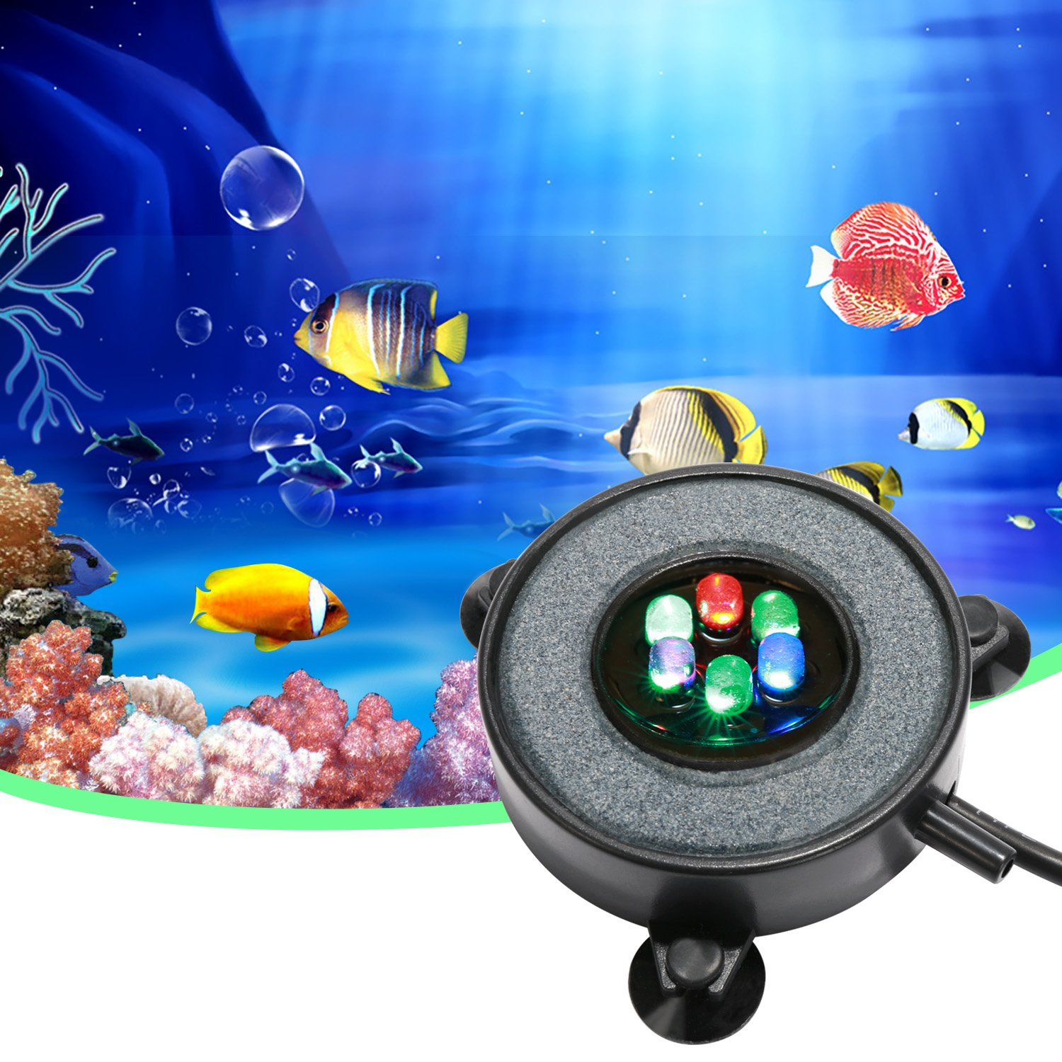 Supmaker Aquarium Air Stone Fish Tank Led Air Stone Bubble Light with 6 Color Changing LEDs for Aquarium