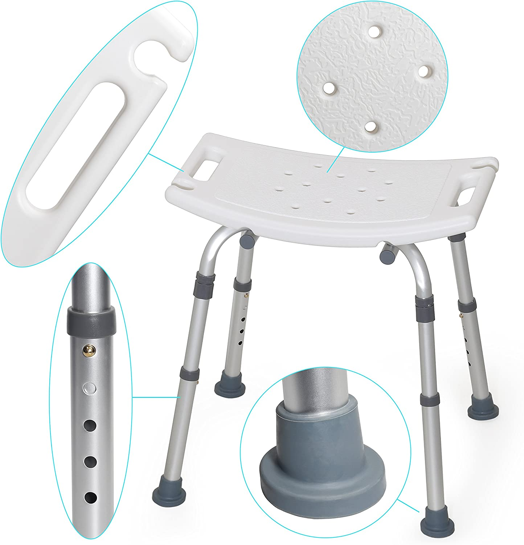 MedX5 (Upgrade 2019) taburete de ducha de altura regulable, silla para bañarse, taburete para bañarse, carga máxima: 135 kg
