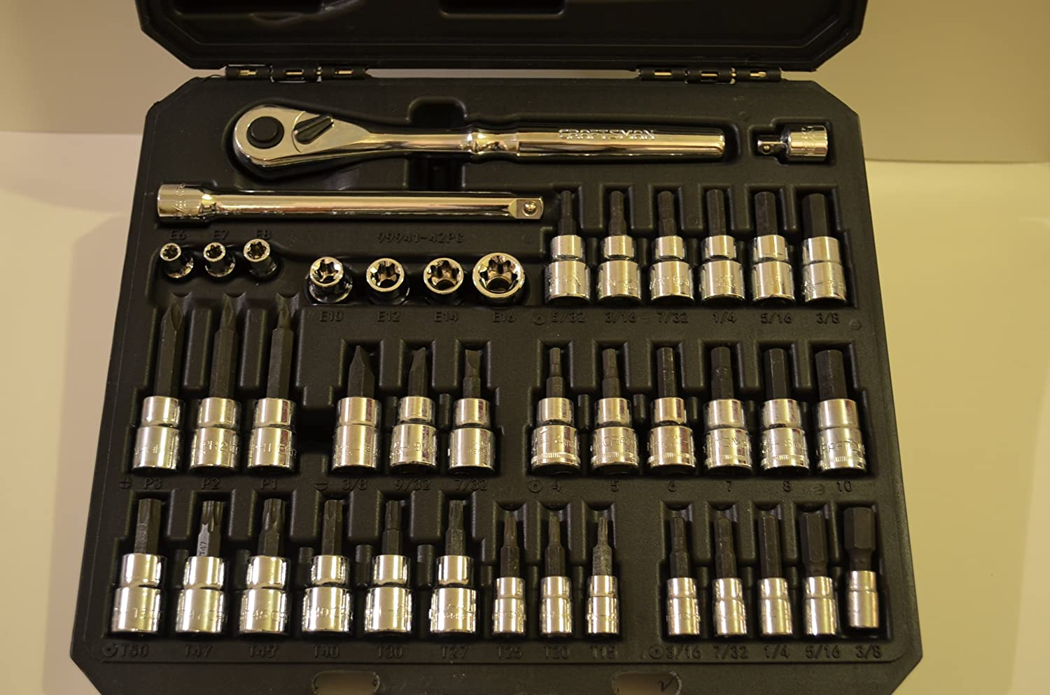 8602685f4c9 Craftsman 42 piece Drive Bit and Torx Bit Socket Wrench Set with Polished  Ratchet - - Amazon.com