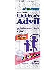 Children's Advil (230 ML, Bubble Gum Flavour) Ibuprofen Suspension Dye Free Temporary Fever Reducer