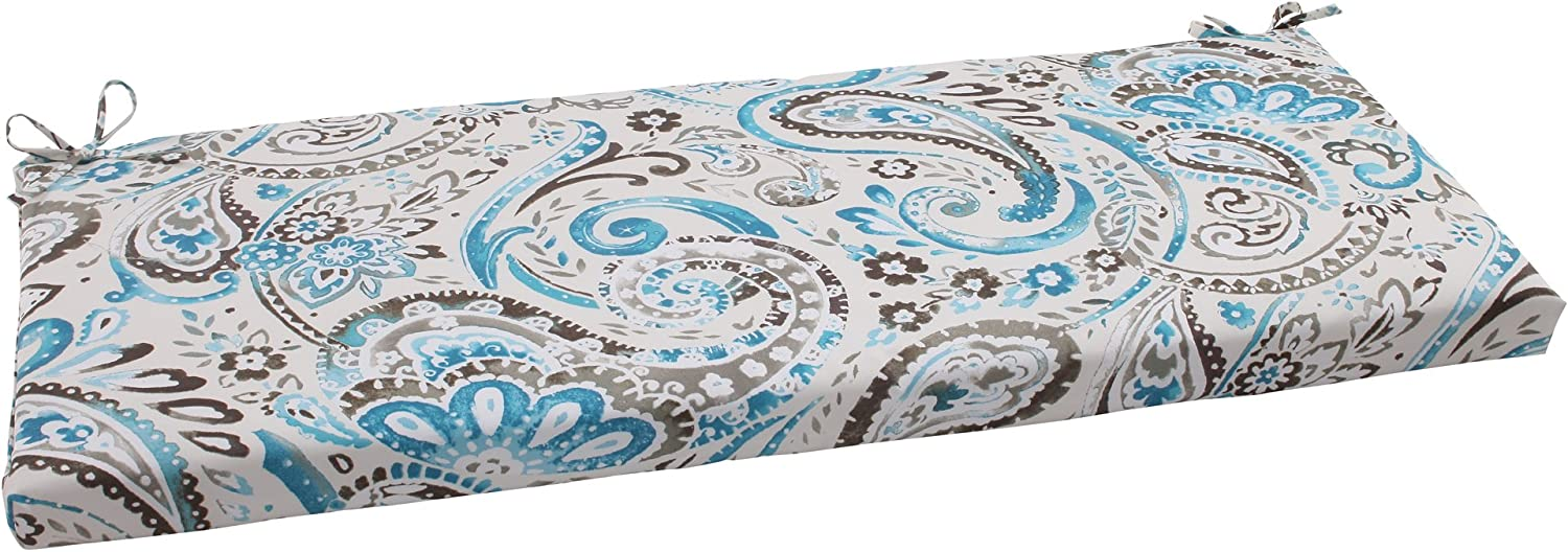 Pillow Perfect Outdoor Paisley Bench Cushion, Tidepool