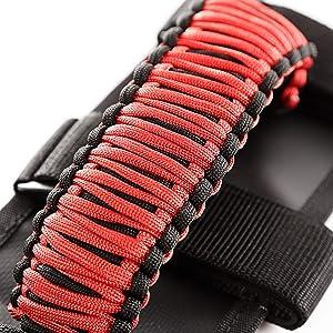 Rugged Ridge 13505.31 Red & Black Paracord Grab Handle Kit for 55-current Jeep CJ/Wrangler/Gladiator