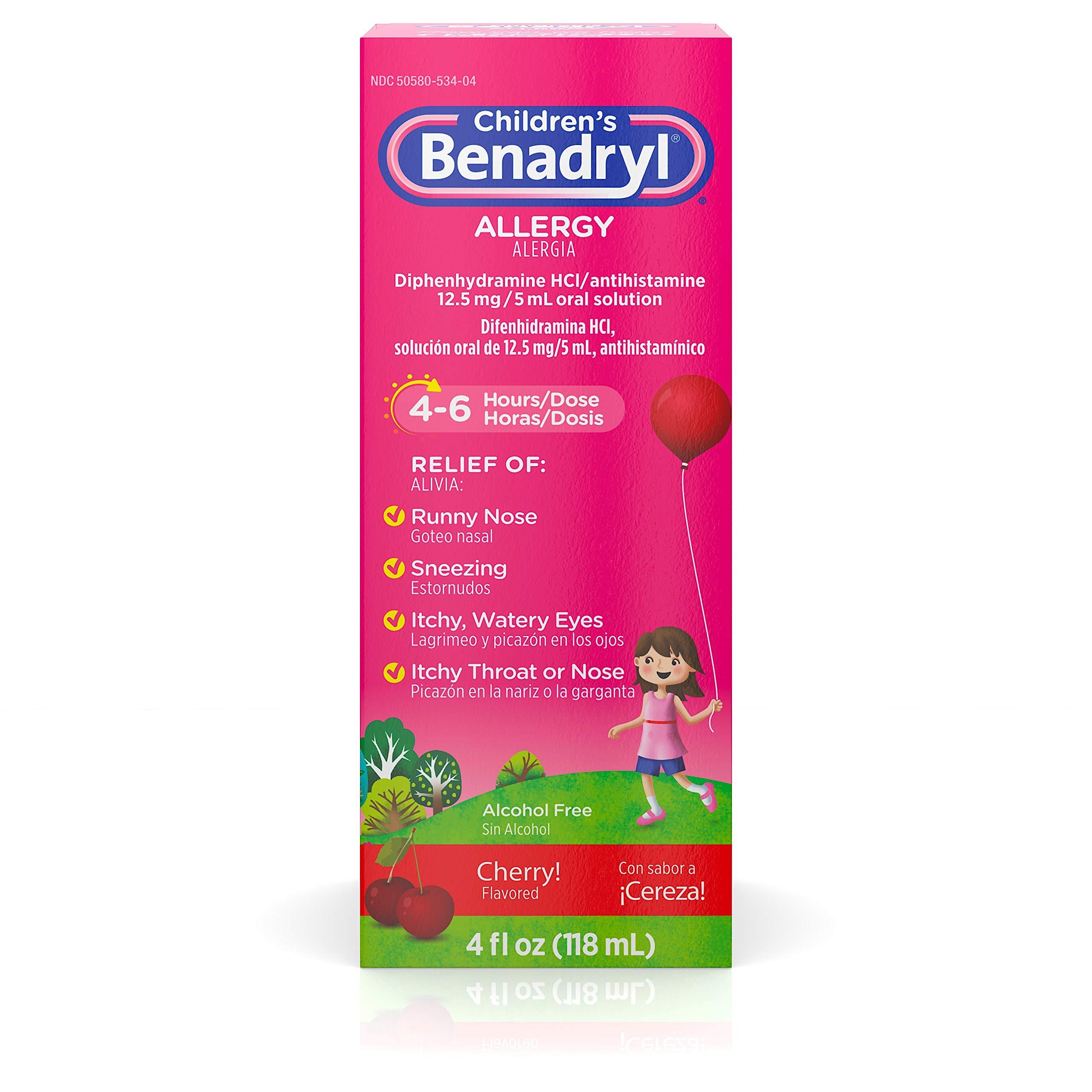 Children's Benadryl Allergy Liquid with Diphenhydramine HCl in Kid-Friendly Cherry Flavor, 4 fl. oz