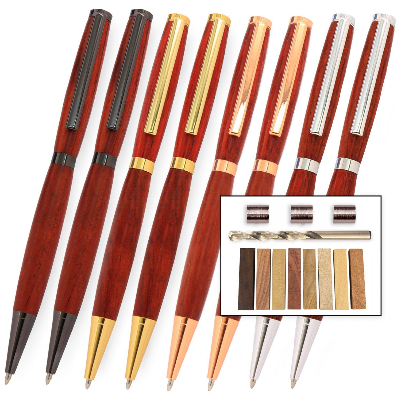 Legacy Woodturning, Slimline Pen Kit Starter Pack with Bushings, Hurricane M42 Cobalt Drill Bit, Pen Kits, Wood Pen Blank Sampler Pack by Legacy Woodturning