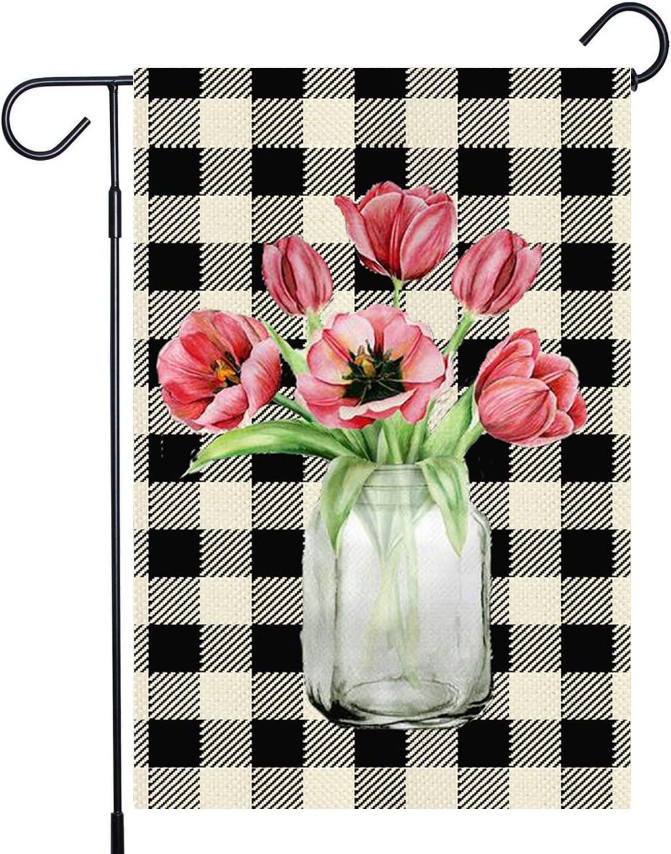 AFOKNY Welcome Tulips Mason Jars Garden Flag,Vertical Double Sized 12.5 x 18 Inch,Buffalo Check Plaid Rustic Garden Decoration Sign,Seasonal Burlap Yard Outdoor Decoration