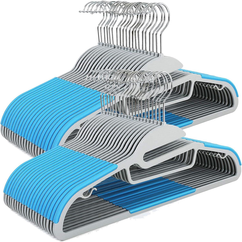 SONGMICS 50 Perchas de Plástico, Ahorro de Espacio, Apertura en Forma de S, Bandas Antideslizantes, Gancho Giratorio a 360º, Azul CRP41Q-50