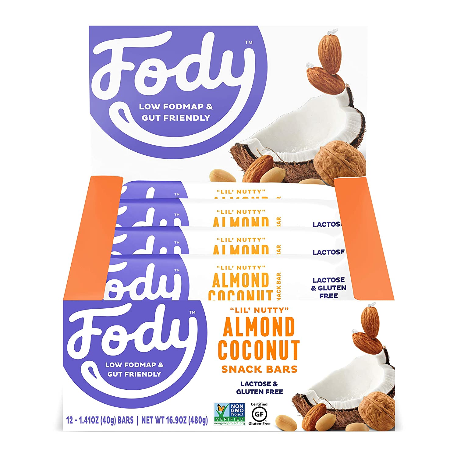 Fody Foods Vegan Protein Nut Bars, 6g Protein Snack Bar, Low FODMAP Certified, Gut Friendly IBS Friendly Snacks, Gluten Free Lactose Free Non GMO, Almond and Coconut Bars, 12 Count
