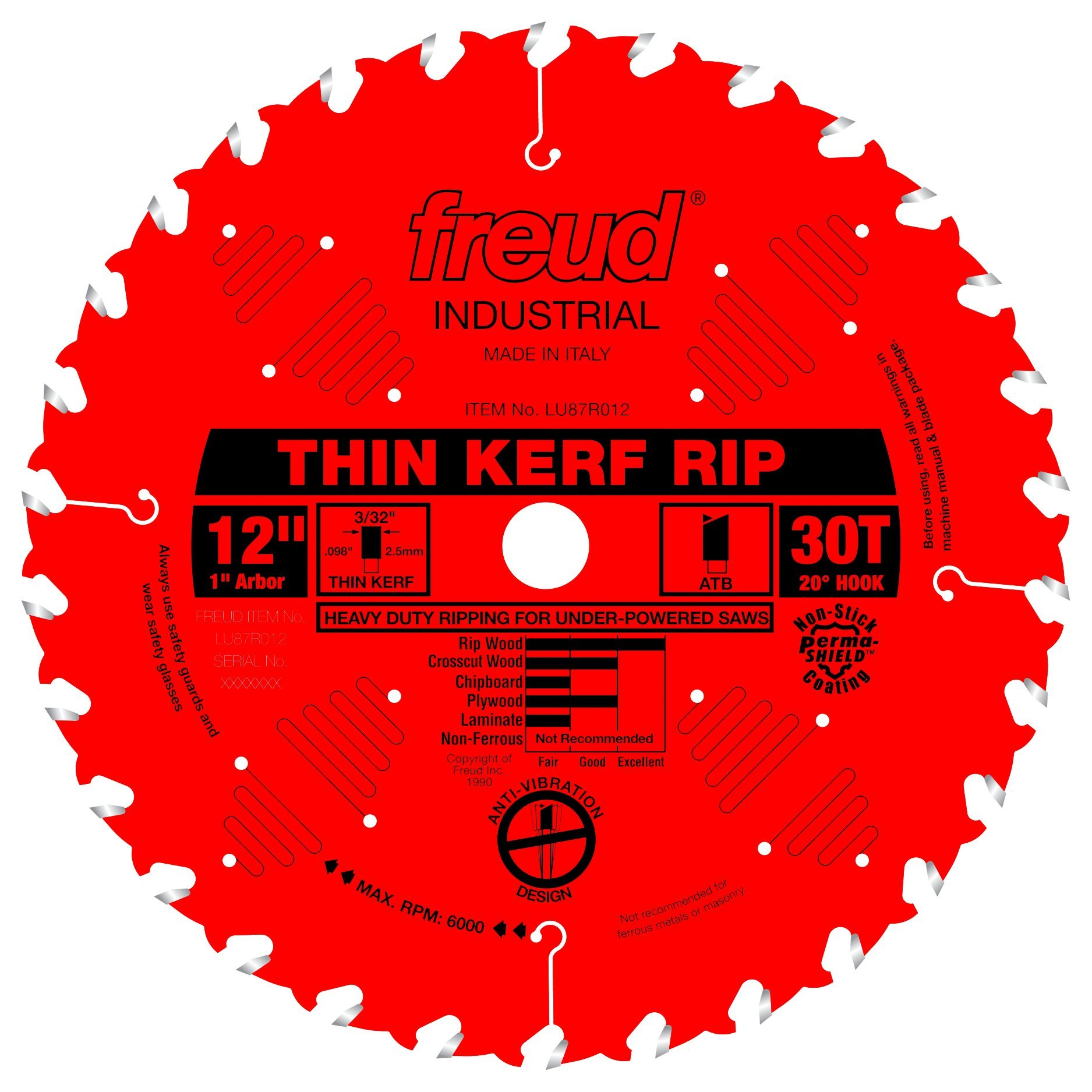 Disco Sierra FREUD 12 x 30T Thin Kerf Rip (LU87R012)