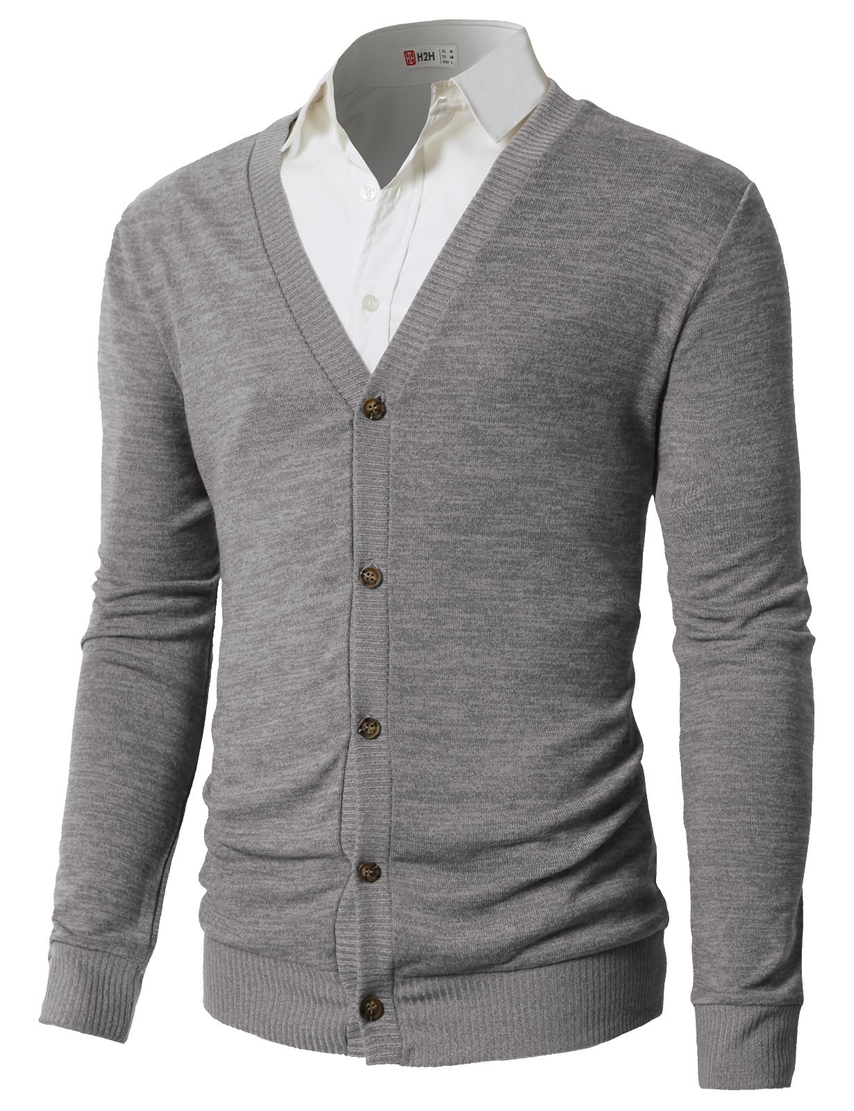 H2H Mens Casual Slim Fit Knitted Basic Designed V-Neck Long Sleeve Cardigan Gray US M/Asia L (CMOCAL019)