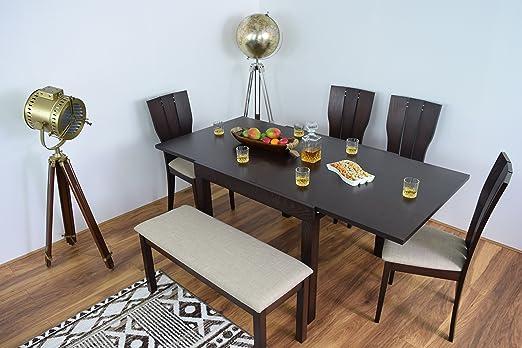 AHOC Mesa de Comedor Extensible y 2/4/6 sillas Banco de Madera ...