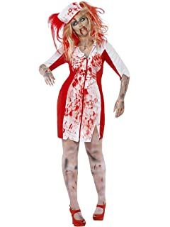 7a3569ca24f84 Smiffys Adult Women's Curves Zombie Nurse Costume, Dress and Headpiece,  Zombie Alley, Halloween