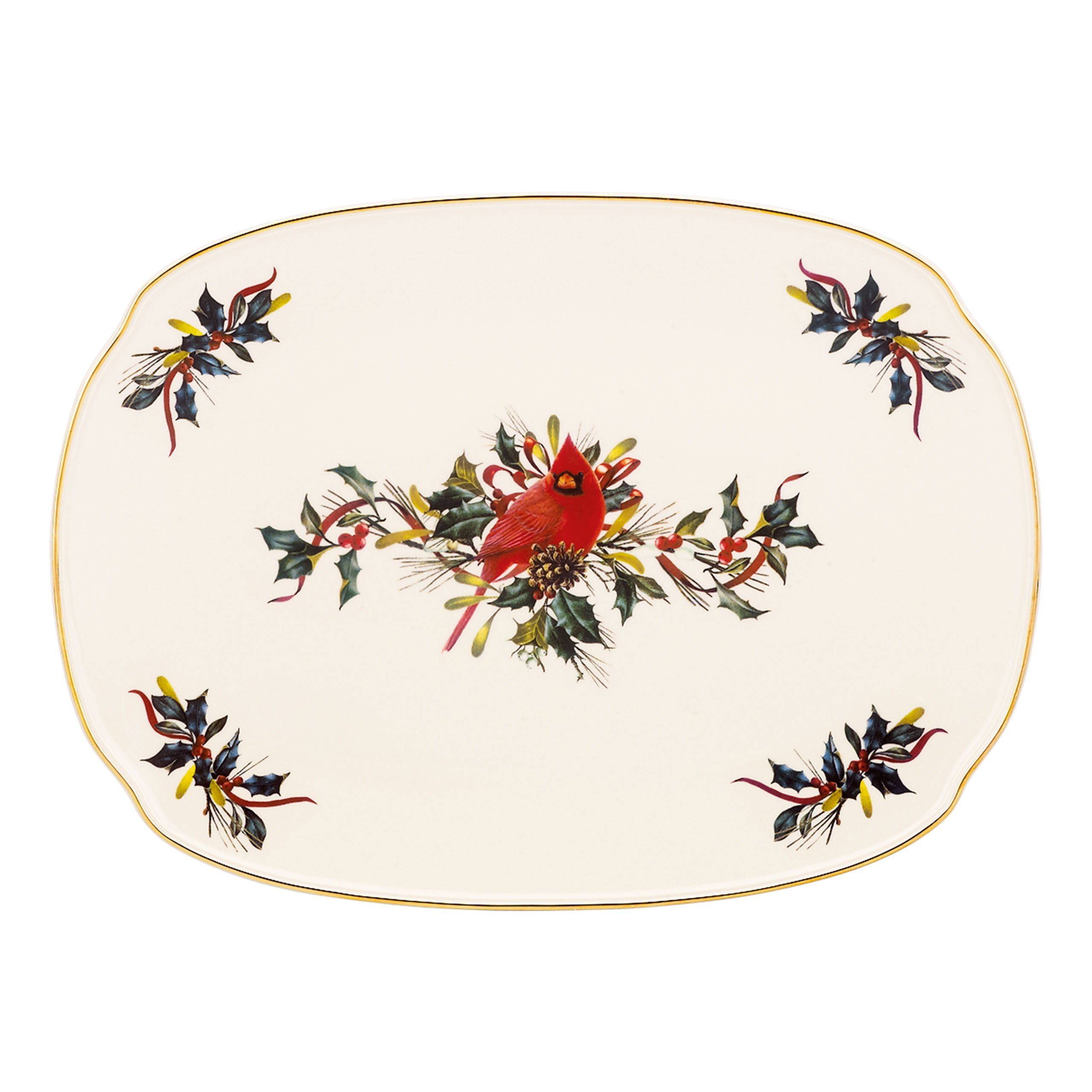 Lenox Winter Greetings Oblong Platter,Ivory