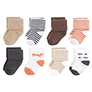 Touched by Nature Baby Organic Cotton Socks, Fox 8Pk, 0-6 Months