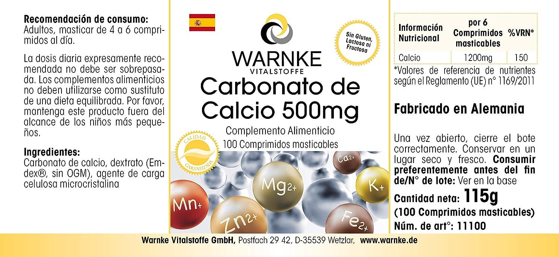 Carbonato de Calcio 500mg – Vegano y altamente dosificado – 188mg ...
