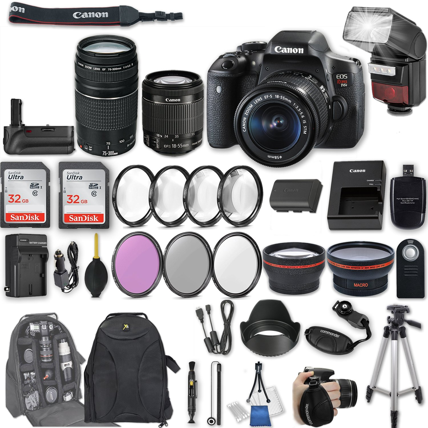 Canon EOS Rebel T6i DSLR Camera with EF-S 18-55mm f/3.5-5.6 IS STM Lens + EF 75-300mm f/4-5.6 III + 2Pcs 32GB Sandisk SD Memory + Automatic Flash + Battery Grip + Filter & Macro Kits + Backpack + More by Canon
