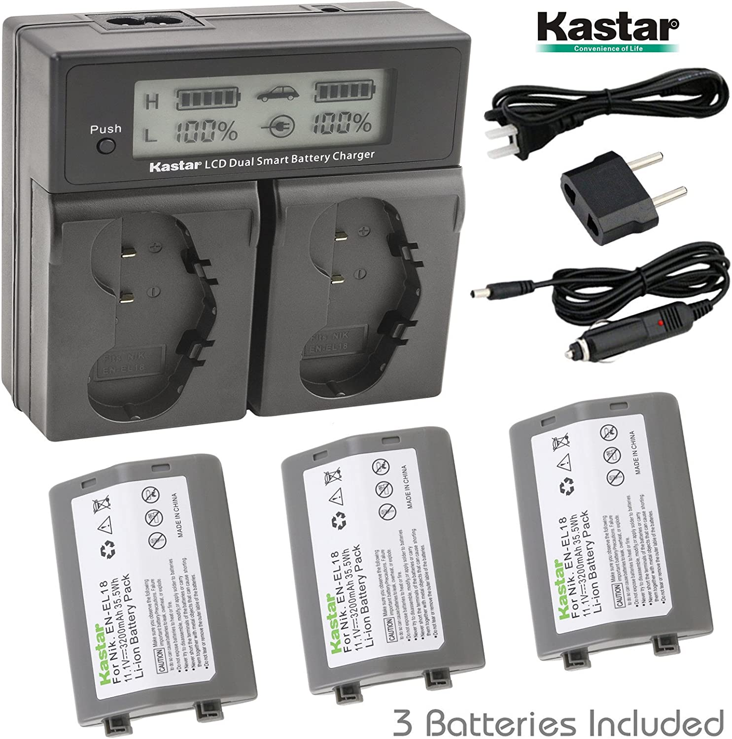 Battery 3X for Nikon EN-EL18 D800E Battery Grip Nikon MB-D12 MH26 /& Nikon D4 EN-EL18b D5 EN-EL18c EN-EL18a D4S Kastar LCD Dual Smart Fast Charger D800 D6 Digital SLR Camera MH-26a MH-26