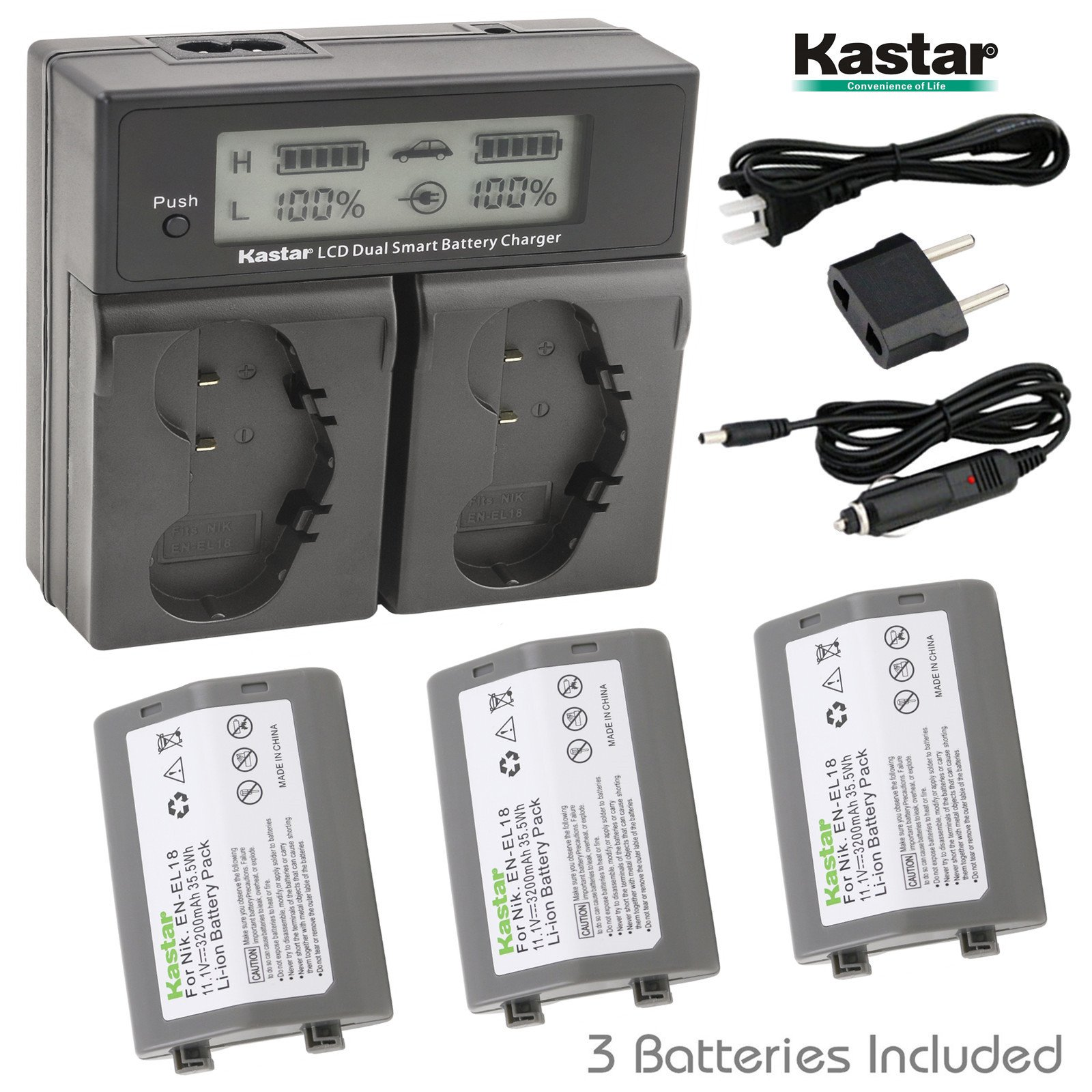 Kastar LCD Dual Smart Fast Charger & Battery (3 PACK) for Nikon EN-EL18, EN-EL18a, ENEL18, ENEL18a, MH-26, MH-26a, MH26 and Nikon D4, D4S, D5 Digital SLR Camera, Nikon MB-D12, D800, D800E Battery Grip
