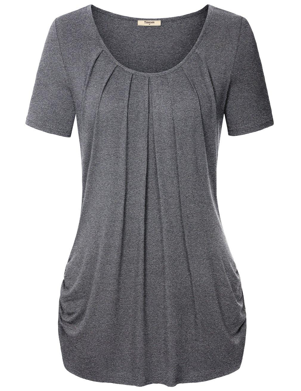 Timeson Tunic Blouses Women, Plus Size Clothing for Women Basic Knit Tops Dark Grey XX-Large