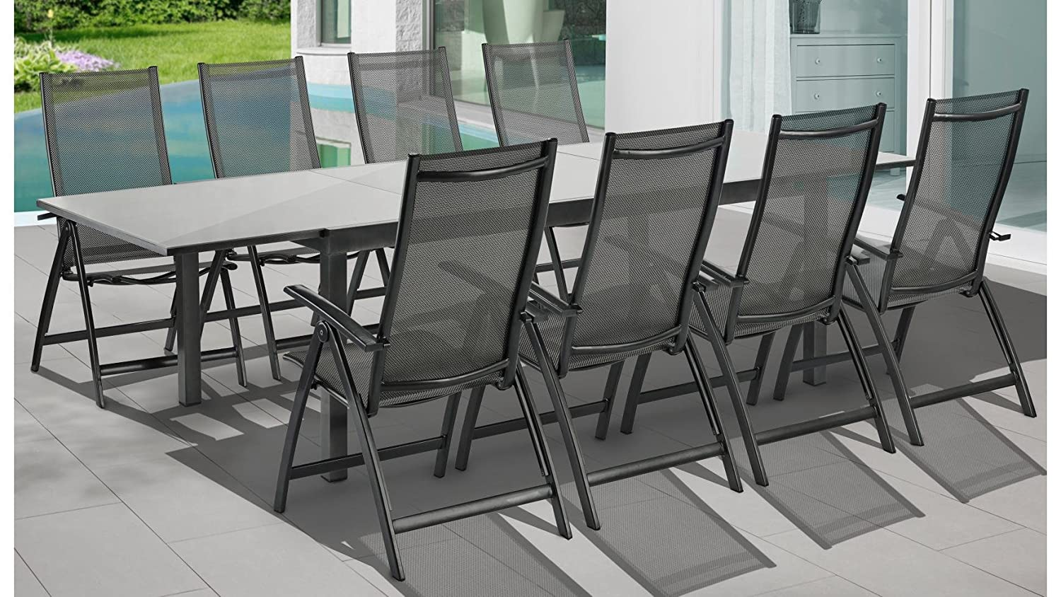 merxx gartenm belset vicenza 9 tgl 8 klappsessel tisch 200 300 cm alu textil grau. Black Bedroom Furniture Sets. Home Design Ideas