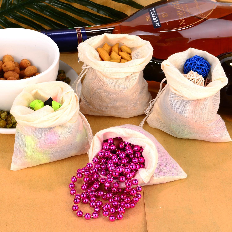 Pangda 100 Pieces Drawstring Cotton Bags Muslin Bags (4 x 6 Inches) by Pangda (Image #5)
