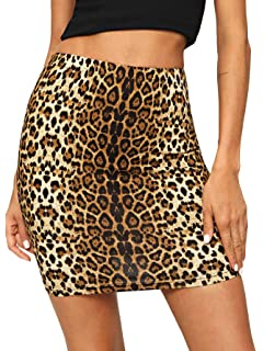 474b49bc6c Verdusa Women's Leopard Print Denim A-Line Short Pencil Skirt at ...