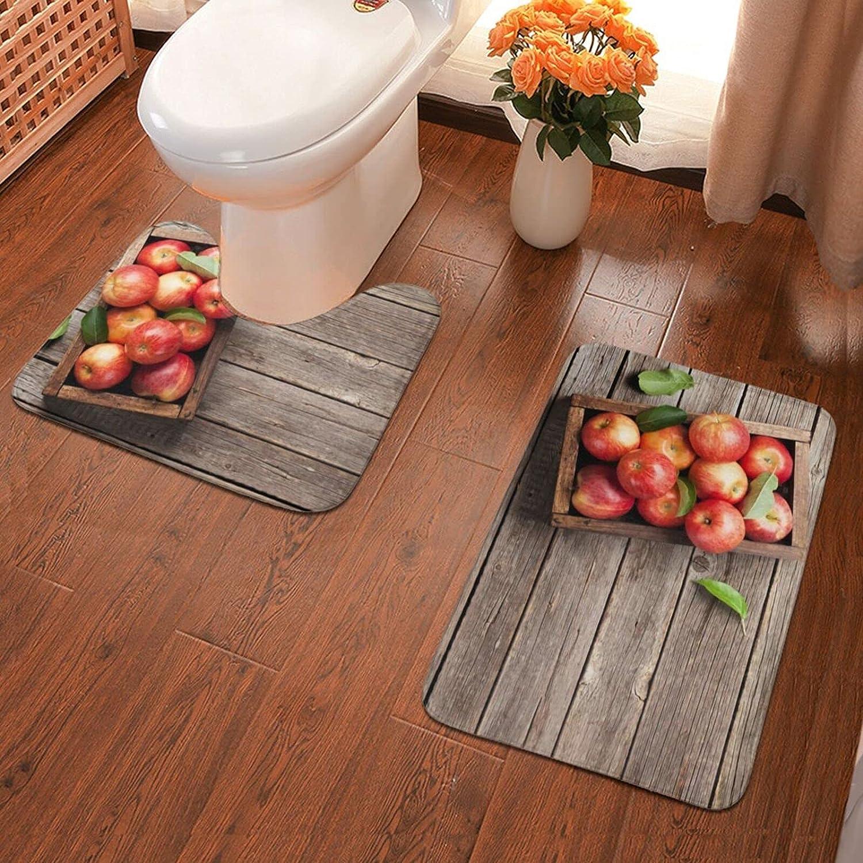 Box of Apples in On Wood Floor(3) Bath Mat 2 Piece Soft Pads Bath Mat + Water Absorption Contour