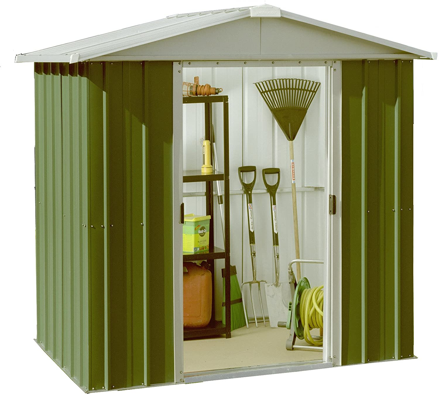 yardmaster international 66geyz 6 x 6ft deluxe metal shed green silver amazoncouk garden outdoors