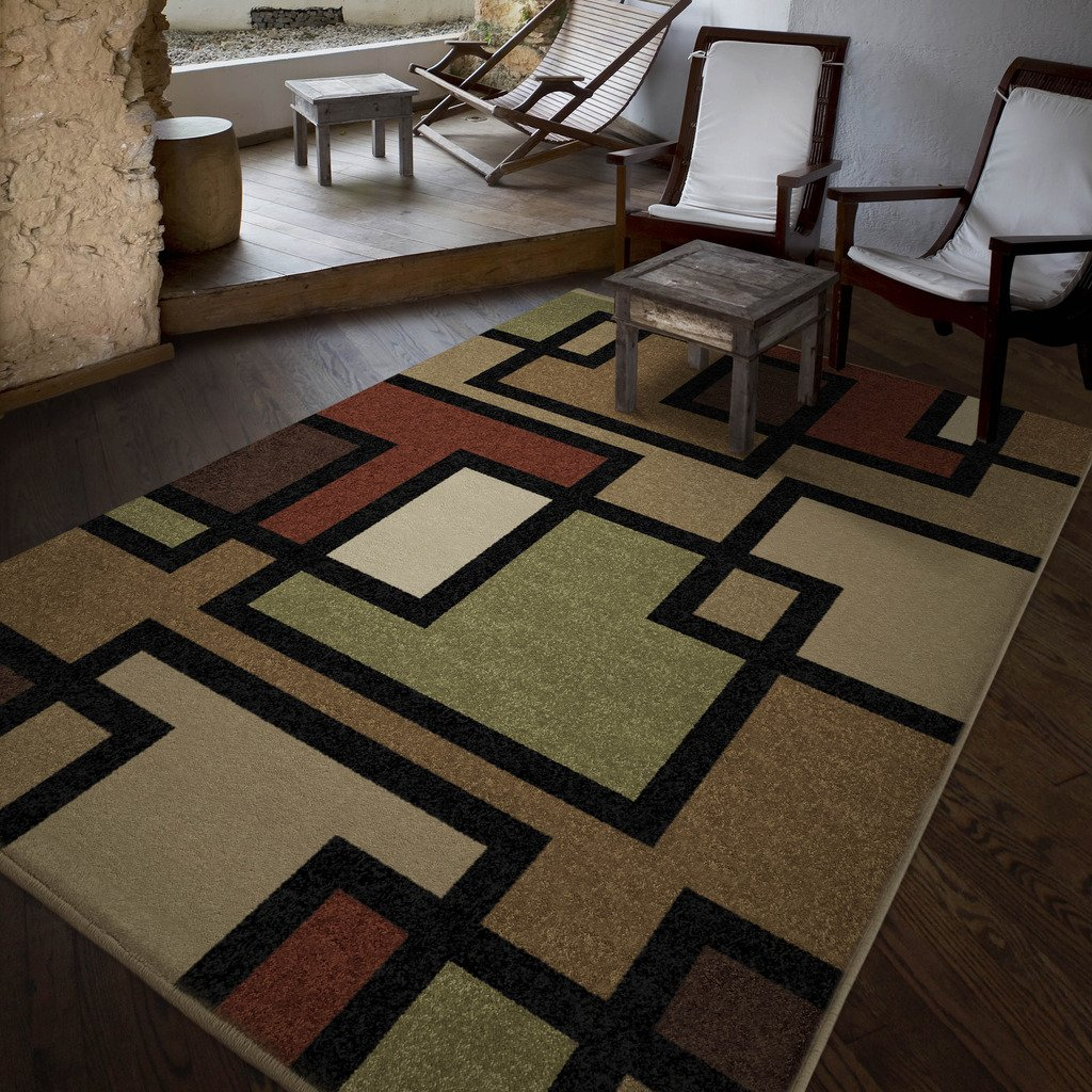 Orian Rugs Indoor/Outdoor Geometric Blended Blocks Multi Area Rug (5'2 x 7'6) 326222
