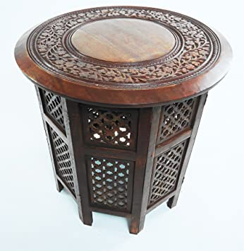 Beautiful Round Brown White Hand Carved Indian Shesham Wooden Coffee Table  Side[Maghony,Extra