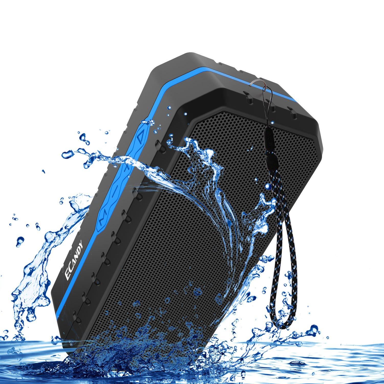 Ecandy Impermeable IPX6 Altavoz portátil Bluetooth estéreo de 3W Anti-polvo, anti-caída al aire libre pensamiento altavoz inalámbrico incorporado en 1800mAh batería(azul)