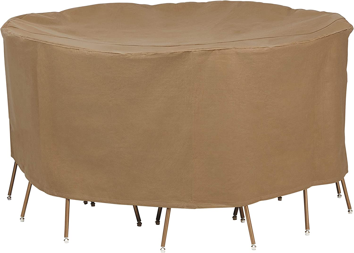 Duck Covers Essential Water-Resistant 108 Inch Round Patio Table & Chair Set Cover