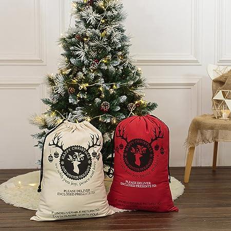 amazon com canvas christmas santa sack bags gift for kids large