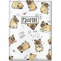 Quttie, Cute Vegan Eco Leather Passport Cover for Women, Men, Kids (I Love Pugs)