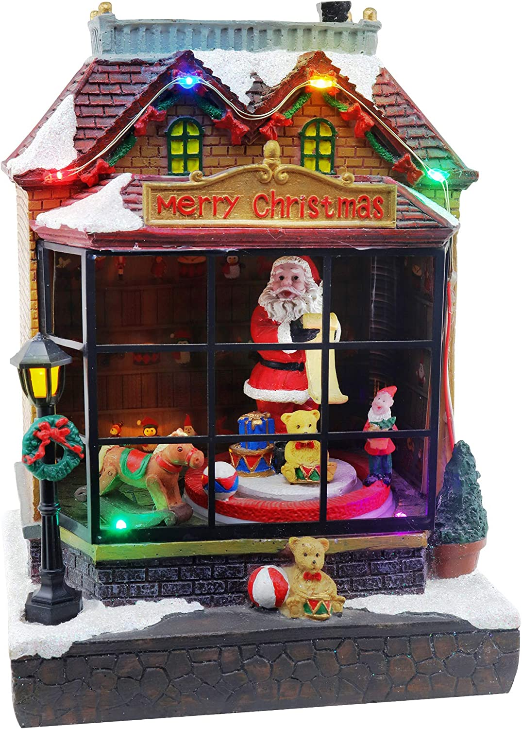 Christmas Santa's Workshop Snow Village | Lighted (Musical) Christmas Village | Perfect Addition to Your Christmas Indoor Decorations & Christmas Village Displays