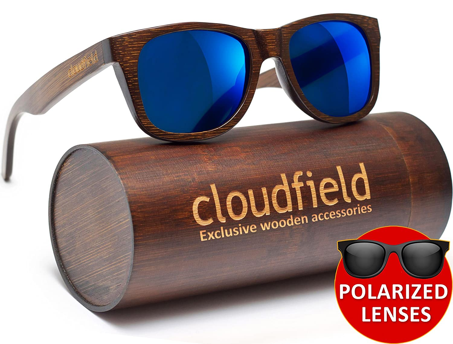 0ed2207c380 Wood Sunglasses Polarized for Men and Women - Bamboo Wooden Wayfarer   Amazon.co.uk  Sports   Outdoors