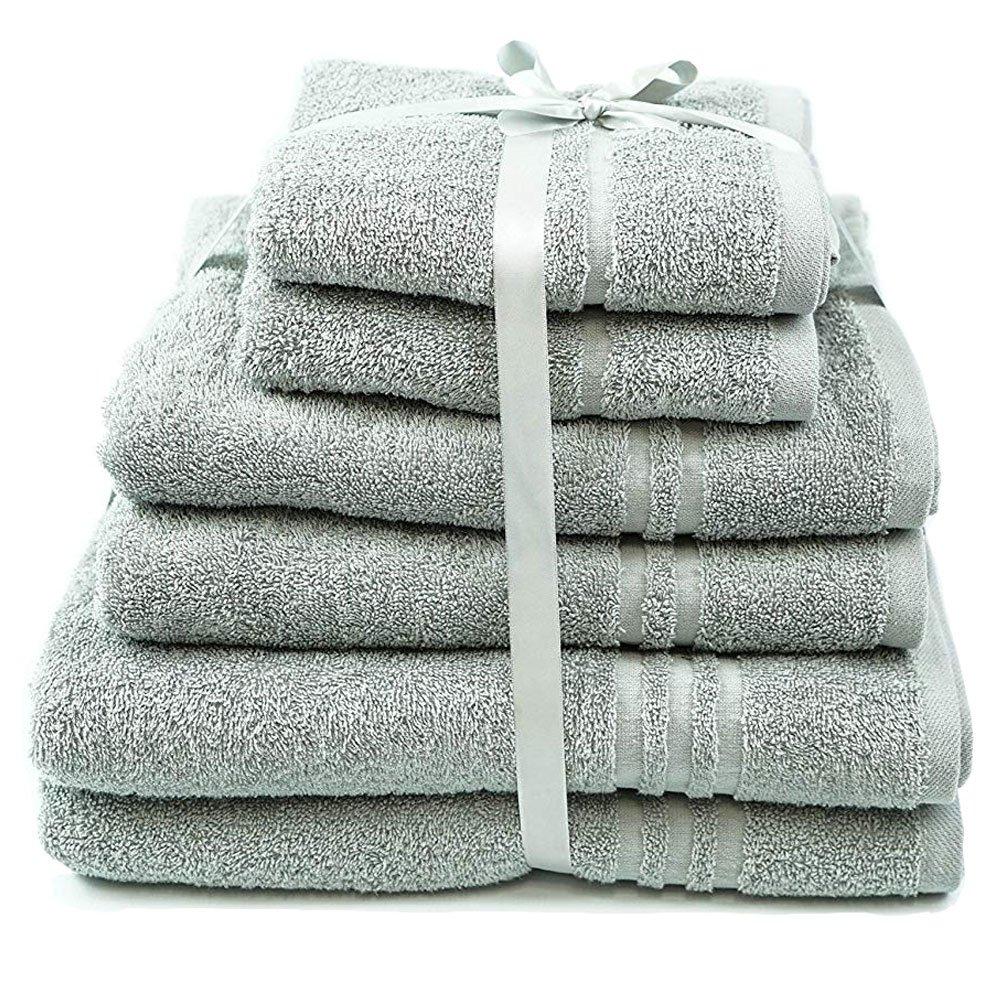 6 Piece Towels Bale Set 450gsm Absorbent Towel Allure Bath Fashions Hotel Essentials 6 Pack Towel Bale Including 2 x Hand Towels 50 x 80cm, 2 x Bath Towels 70 x 120cm & 2 x Bath Sheets 90 x 140cm (White)