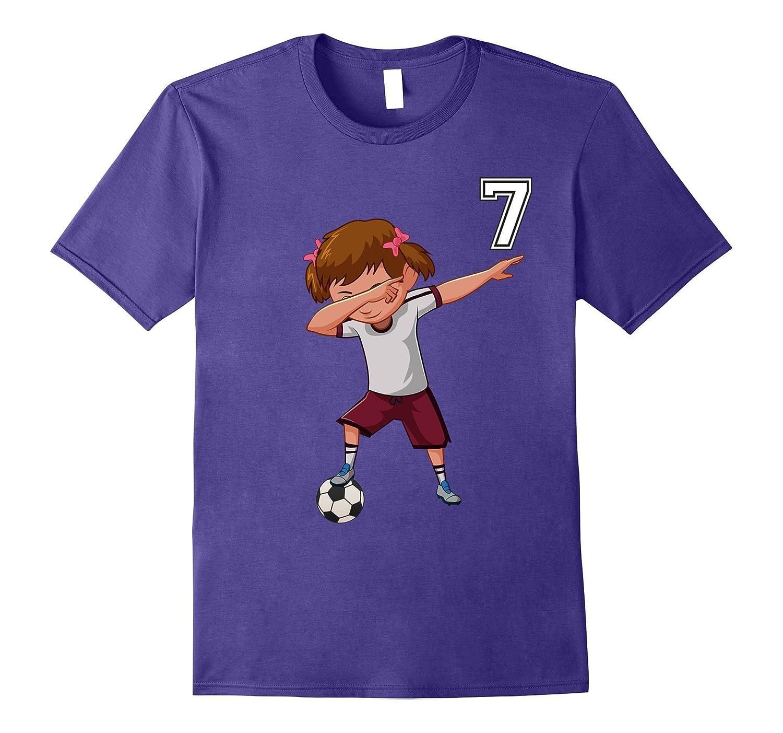 #7 Soccer Shirt Girls Funny Dabbing Dab Dance Soccer Ball-T-Shirt