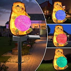 Upgraded Outdoor Solar Garden Lights - Solar Hedgehog Decoration Lights - Color Changing LED Waterproof Solar Stake Lights for Garden, Patio, Yard, Lawn, Walkway Decoration