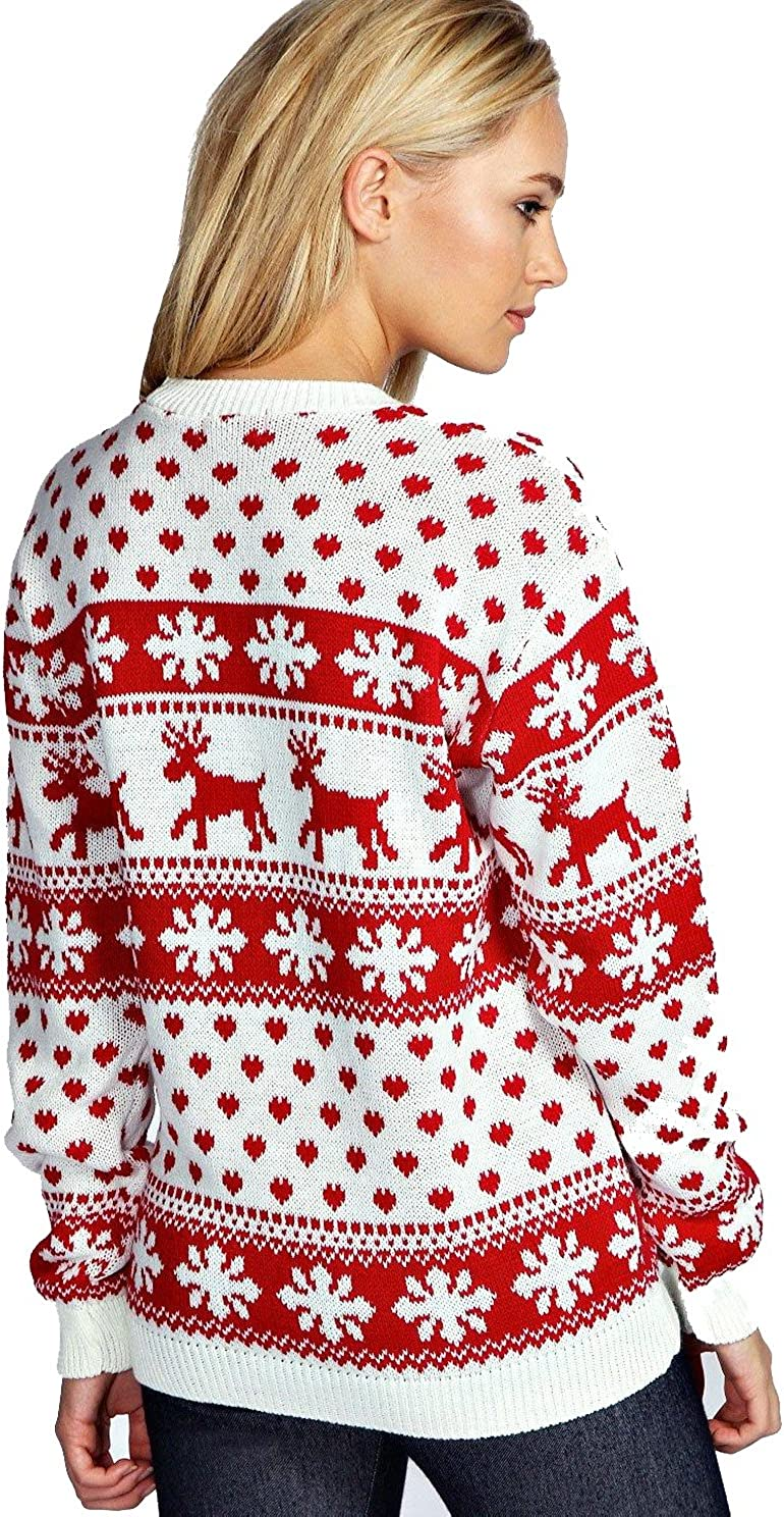 11//12 Years Red Olives/® Kids Merry Xmas Knitted Jumpers Girls Swinging Elf Bambi Baby Reindeer Christmas Jumper Top 5//6 Years 13 Years 9//10 Years 7//8 Years