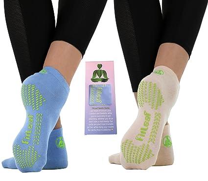 Fitleaf Bamboo Yoga Socks Non Slip Grip For Pilates Barre Dance