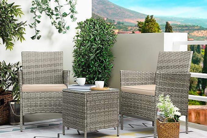Amazon.com : Greesum GS-3RCS4BG 3 Pieces Outdoor Patio Furniture Sets, Gray  and Beige : Garden & Outdoor