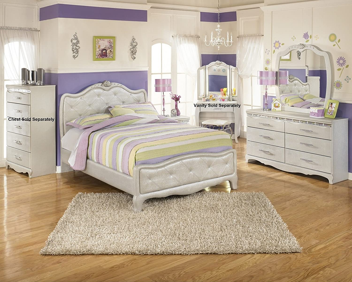 Amazon.com   Julia Silver And Pearl Girlu0027s Full Size Bedroom Set, Bed  Dresser Mirror Night Stand