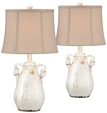 Sofia Cottage Table Lamps Set of 2 Ceramic Crackled Farmhouse Ivory Jar  Beige Bell Shade for Living Room Family Bedroom - Regency Hill